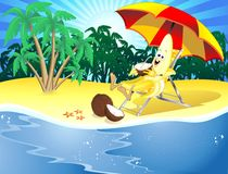 Funny Cartoon Banana on Exotic Beach Stock Photos