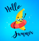 Funny cartoon banana with life buoy. Hello Summer card. Flat style. Vector. Illustration Stock Images