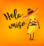 Funny cartoon banana in a Mexican hat and mustache. Hola amigo. Summer card. Flat style. Vector illustration.  Royalty Free Stock Photography