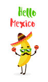 Funny cartoon banana in a Mexican hat and mustache. Hola amigo. Summer card. Flat style. Vector illustration.  Royalty Free Stock Image