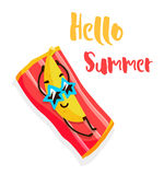 Funny cartoon banana with sunglasses tans on the beach. Hello Summer. Flat style. Vector.  Stock Photo