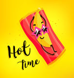 Funny cartoon banana with sunglasses tans on the beach. Hot time. Summer card. Flat style. Vector.  Stock Images