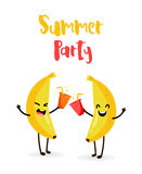 Funny cartoon bananas drink juice. Summer Party. Flat style. Vector.  Stock Image