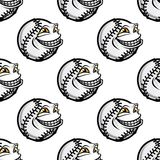 Funny cartoon baseball ball pattern Stock Photography
