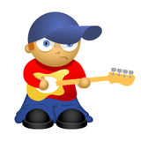 Funny cartoon bass-guitar player Stock Image