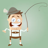 Funny cartoon bavarian in lederhosen with traditional whip Royalty Free Stock Photo