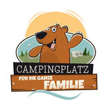 Funny cartoon bear. On campsite with a german sign that means camping for the whole family Royalty Free Stock Photo