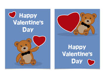 Funny cartoon bear cub with red heart. Happy Valentines Day Card Royalty Free Stock Photos