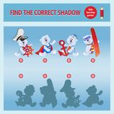 Funny cartoon bear cubs. Find the desired shadow. A learning game for children. Cartoon vector illustration. Children`s educational game collection Royalty Free Stock Image