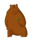 Funny cartoon bear with flower Stock Photography