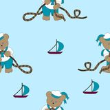 Funny cartoon bear sailor. Cheerful cartoon bear sailor tying knots on a rope. Vector seamless illustration for kids Stock Images