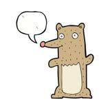 Funny cartoon bear with speech bubble Stock Image
