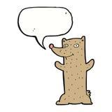 Funny cartoon bear with speech bubble Stock Photos