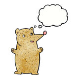 Funny cartoon bear with thought bubble Stock Images