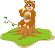 Funny cartoon bear on tree stump Stock Images