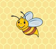 Funny cartoon bee on the background of honeycombs Stock Photography