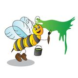 Funny cartoon bee with a brush and paints Stock Photos