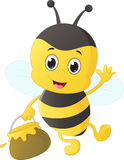 Funny cartoon bee carrying honey Royalty Free Stock Images