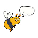 Funny cartoon bee with speech bubble Royalty Free Stock Images