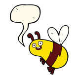 Funny cartoon bee with speech bubble Stock Images