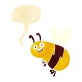 Funny cartoon bee with speech bubble Royalty Free Stock Image