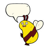 Funny cartoon bee with speech bubble Stock Photography