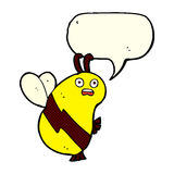 Funny cartoon bee with speech bubble Stock Photography