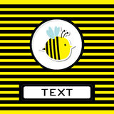 Funny cartoon bee.  Striped background. Card. Stock Photo