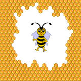 A funny cartoon bee surrounded by honeycombs Stock Photography
