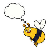 Funny cartoon bee with thought bubble Royalty Free Stock Photography