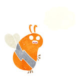 Funny cartoon bee with thought bubble Royalty Free Stock Photo