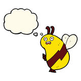 Funny cartoon bee with thought bubble Stock Images