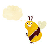 Funny cartoon bee with thought bubble Royalty Free Stock Images