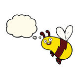 Funny cartoon bee with thought bubble Stock Photography