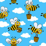 Funny Cartoon Bees Seamless Pattern. A cute seamless pattern with cartoon happy bees flying in the sky and carrying honey. Eps file available stock illustration