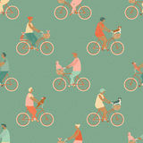 Funny cartoon bicycle riders group seamless pattern in vector. Stock Images