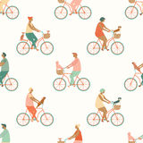 Funny cartoon bicycle riders group seamless pattern in vector. Stock Photos