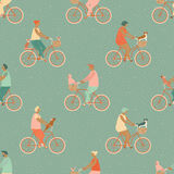 Funny cartoon bicycle riders group seamless pattern in vector. Royalty Free Stock Photos