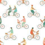 Funny cartoon bicycle riders group seamless pattern in vector. Stock Photography