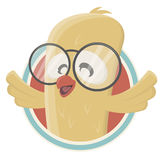 Funny cartoon bird in a badge Stock Image