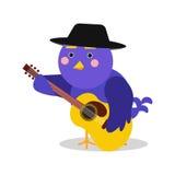 Funny cartoon bird character playing guitar, blue bird in geometric shape vector Illustration Royalty Free Stock Photos