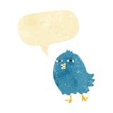 Funny cartoon bird with speech bubble Stock Photos