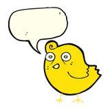 Funny cartoon bird with speech bubble Royalty Free Stock Photos