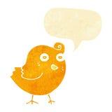 Funny cartoon bird with speech bubble Royalty Free Stock Photography