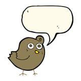 Funny cartoon bird with speech bubble Stock Photo