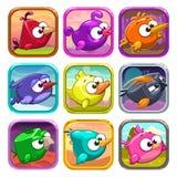 Funny cartoon birds app icons Stock Photography
