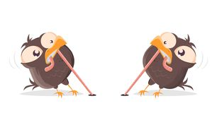 Cartoon birds fighting for a worm. Funny cartoon birds fighting for a worm royalty free illustration
