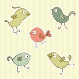 Funny cartoon birds Stock Image