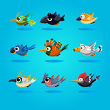 Funny Cartoon Birds, Vector Illustration. Set Royalty Free Stock Photos