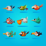 Funny Cartoon Birds, Vector Illustration. Set Royalty Free Stock Photo